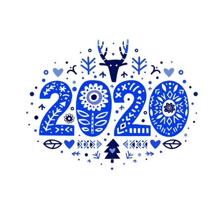 2020 Merry Christmas Calligraphy Template on blue colors. Vector