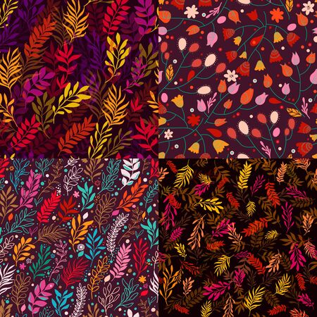 Set of Four Floral Autumn Seamless Pattern with branch and leaves. Seamless pattern can be used for wallpaper, pattern fills, web page background, surface textures.