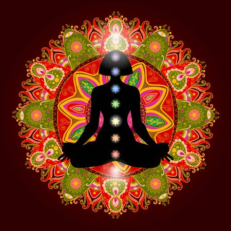 Silhouette in lotus position over colorful ornate mandala. Meditating human in lotus pose. Colorful 9 chakras and aura glow. Chakras concept. Vector illustration.