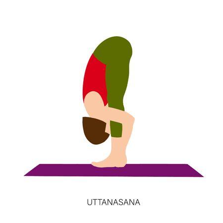 Yogi woman in Uttanasana or Padahastasana Pose. Female cartoon character practicing Hatha yoga. Girl demonstrating exercise during gymnastics training. Flat vector illustration.