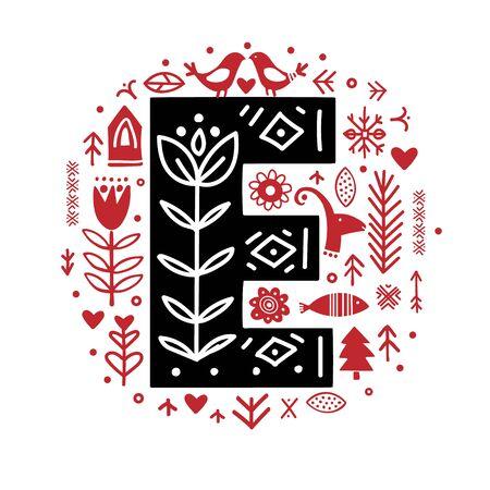Creative letter E with folk motives - scandinavian. Vector illustration. 写真素材 - 137070941