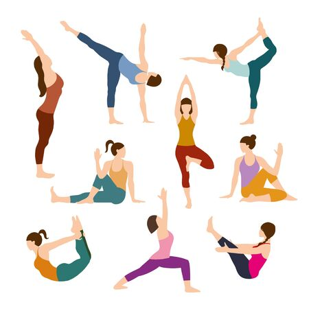 Silhouettes girl practicing yoga stretching exercises. Shapes of woman doing yoga fitness workout. Set off yoga positions. Female cartoon character practicing Hatha yoga. Flat vector illustration Vetores