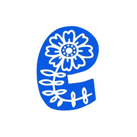 Creative letter E with folk motives - scandinavian. Vector illustration.