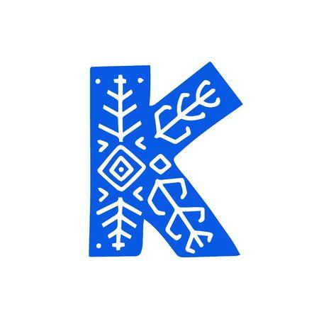 Creative letter K with folk motives - scandinavian. Vector illustration.
