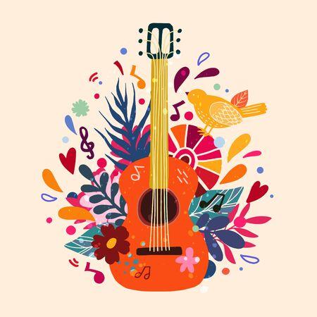 Ilustración de vector dibujado a mano plana de guitarra. Tienda de instrumentos musicales, idea de diseño de carteles de tienda. Guitarra de dibujos animados con flores y hojas. Actuación de la banda de rock, plantilla de banner de concierto