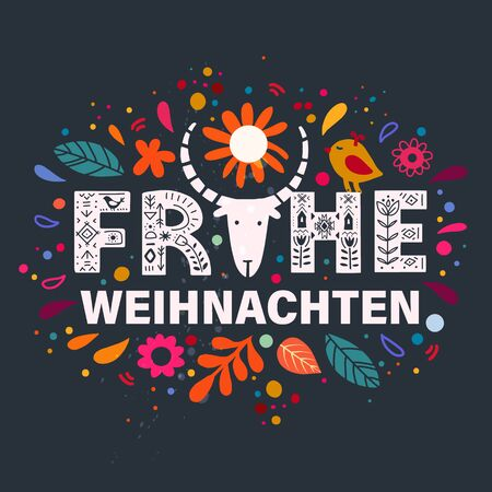 Merry Christmas in German - Frohe Weihnachten. Lettering poster Frohe Weihnachten in ethnic folk style.