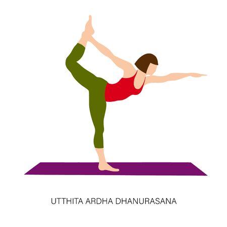 Yogi woman in Utthita Ardha Dhanurasana or Half Bow pose. Female cartoon character practicing Hatha yoga. Girl demonstrating exercise during gymnastics training. Flat vector illustration. Vectores