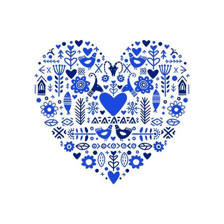 I Love You poster in ethnic folk style on blue colors. Folk Heat. Happy Valentines Day design. Trendy handwritten illustration for t-shirt design, poster or save the date card design. Vektorgrafik