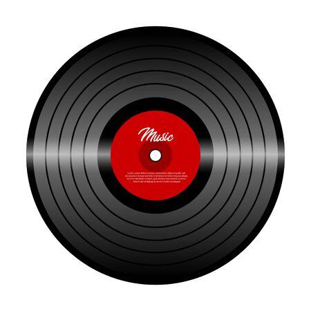 Disco in vinile retrò con etichetta rossa. Vinile isolato su bianco. Vecchia tecnologia. Design retrò realistico. Festival musicale, concerto