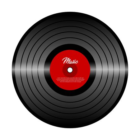 Retro vinyl record with red label. Vinyl isolated on white. Old technology. Realistic retro design. Musical festival, concert