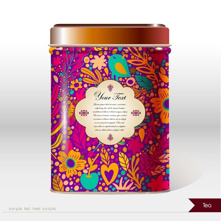 Vector box with flowers, leaves , plants and place for your text. Design product package. Tea, coffee, dry products Illustration