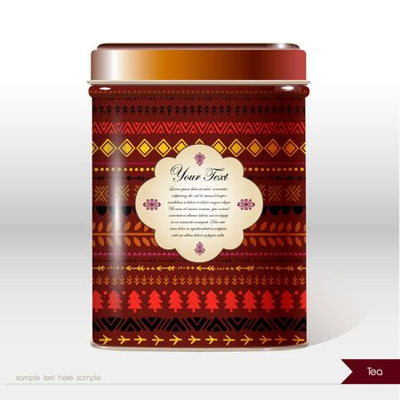 Vector box with abstract folk ornament and place for your text. Design product package. Tea, coffee, dry products