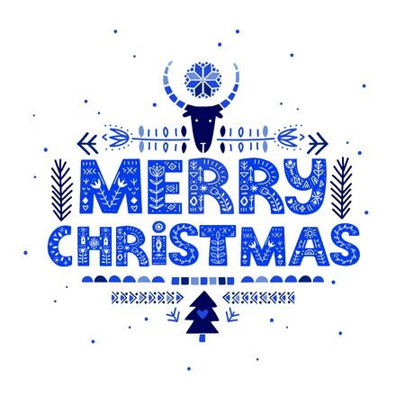 Merry Christmas lettering on blue color in ethnic folk style. Hand drawn typographic inscriptions. Merry Christmas lettering with Scandinavian floral ornament.