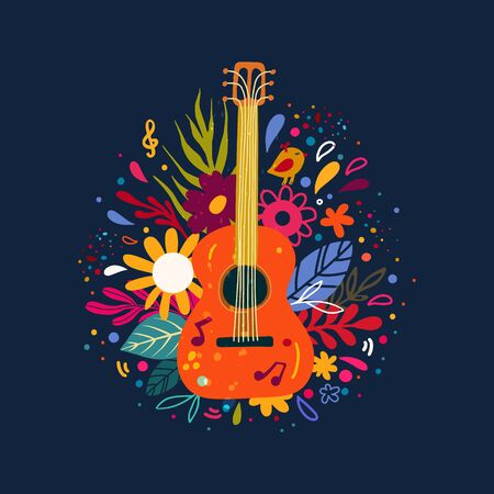 Guitar flat hand drawn vector illustration. Musical instruments shop, store poster design idea. Cartoon guitar with flowers and leaves. Rock band performance, concert banner template Banque d'images - 138418901