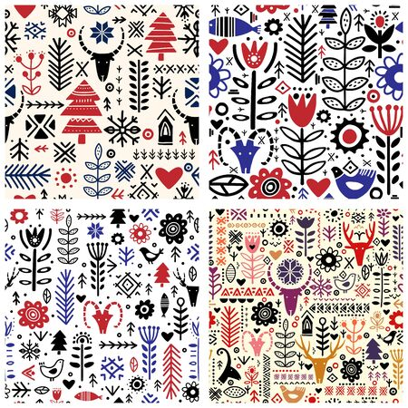 Set of Four Abstract plants and deer in nordic style handdrawn seamless pattern. Abstract cartoon flowers on dark background. Textile, wallpaper, wrapping paper design idea