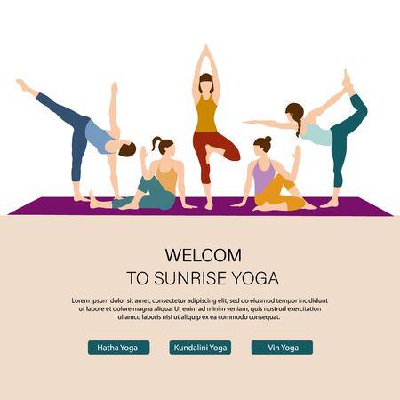 Modello di pagina web di destinazione Salute e Yoga. Interfaccia della pagina web della scuola di yoga online. Layout di progettazione del sito Web di gioco competitivo. Concetto di banner web stile di vita attivo. La donna fa esercizio di yoga, posa di yoga.
