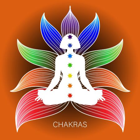 Meditating human in lotus pose. Yoga illustration. Colorful 9 chakras and aura glow. Ornamental background.