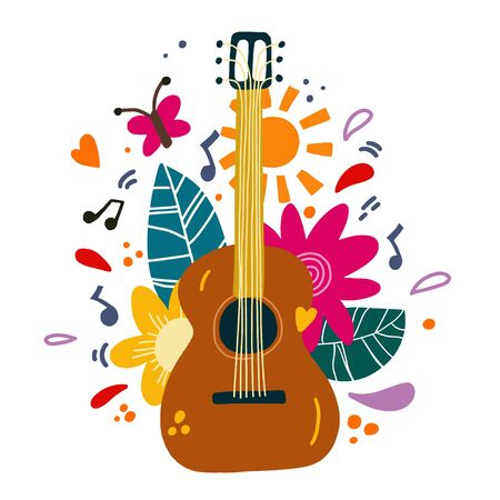 Guitar flat hand drawn vector illustration. Musical instruments shop, store poster design idea. Cartoon guitar with flowers and leaves. Rock band performance, concert banner template Banque d'images - 138418491