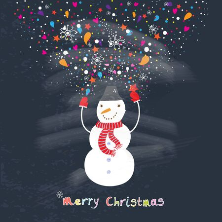 Christmas Cute Cheerful Snowman with Red Scarf