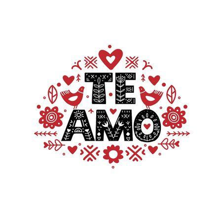 Te Amo Calligraphy Template in Espanol. Lettering poster Te Amo in ethnic folk style.