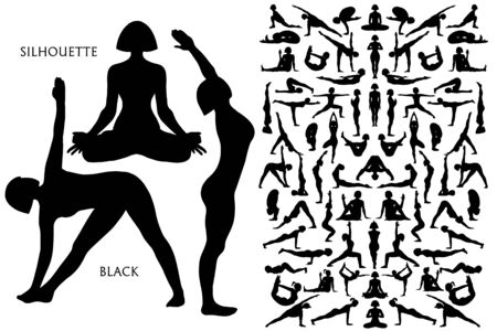Set of Black silhouette Yogi woman in Asana Pose. Female cartoon character practicing Hatha yoga. Girl demonstrating exercise during gymnastics training. Flat vector illustration.