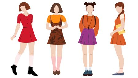Set of Student girls flat vector illustration. Young girls characters isolated on white background. Happy teenager in casual clothes. Youth lifestyle. Vectores
