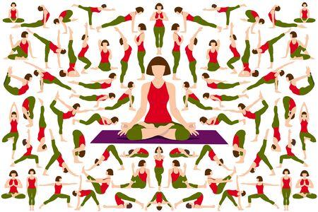 Set of Yogi woman in Asana Pose. Female cartoon character practicing Hatha yoga. Girl demonstrating exercise during gymnastics training. Flat vector illustration.