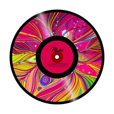 Retro vinyl record with red label. Vector Banco de Imagens