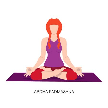 Woman in Ardha padmasana or Yoga Lotus pose. Illustration