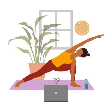 Female cartoon character practicing Hatha yoga. Ilustración de vector