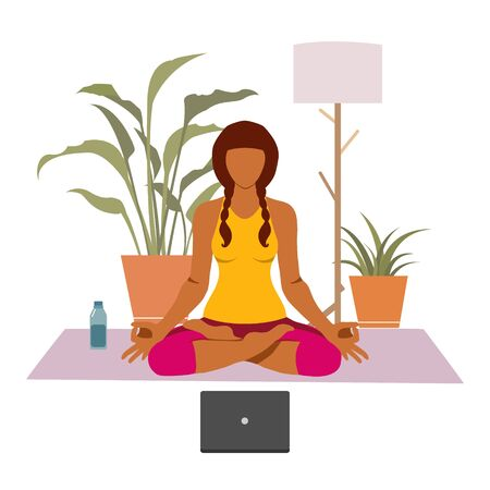 Female cartoon character practicing Hatha yoga.
