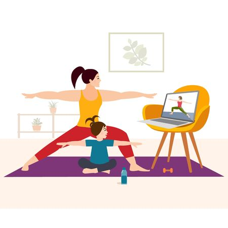 Stay home concept. Practicing Online Yoga Family.