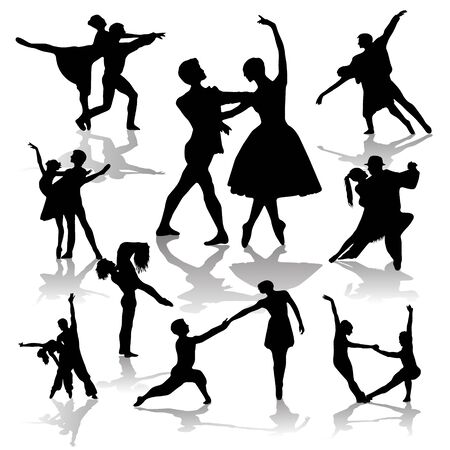 Collection of Dancing Couples Silhouettes. Vector illistration