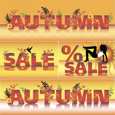 Set of autumn vector sale poster design template.