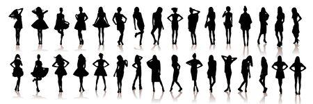 Various silhouettes beautiful model girls . Vector