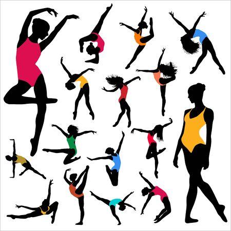 Set Dance Girl ballet silhouettes. Dancing women