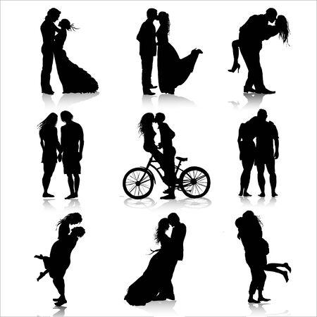 Siluetas de parejas románticas. Amor de pareja