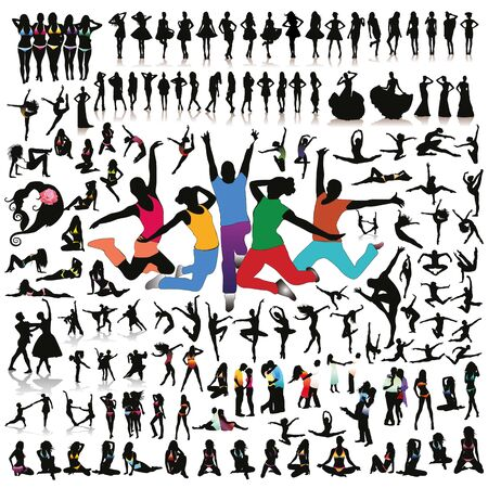 Big set of vector people silhouettes. Illustration