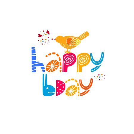 Happy Birthday typography phrase flat illustration