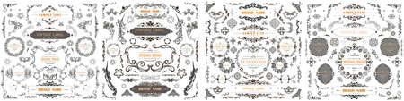 Set of Vintage Decorations Flourishes Elements. Vector Banque d'images