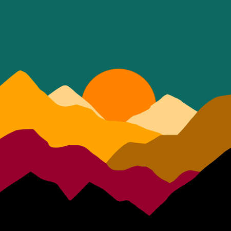 Landscape with mountains and sun. Sunset.