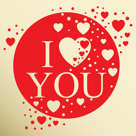 beau: I love you. Greeting card. Abstract heart. Vector Illustration of a Valentines Day card. Wedding. Typography.