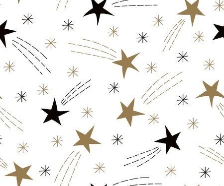 Seamless pattern of flying stars. Celebratory pattern with snowflakes and Christmas star. Vector Illustration. Illustration