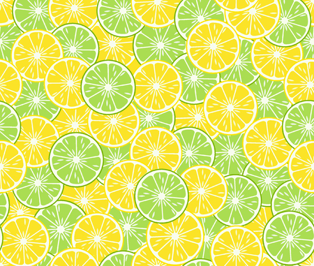 Round slices lime and lemon, seamless pattern. Bright tropical fruits. Vector illustration.