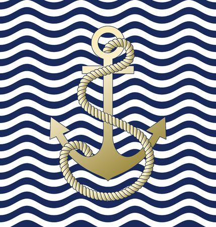 Wave background. Pattern anchor. Vector illustration.