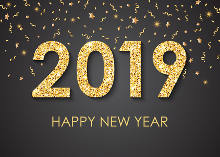 2019 Happy New Year gold text for greeting card, with gold glitter stars, calendar, invitation. Vector illustration. Çizim
