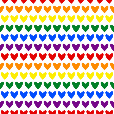 Seamless background hearts pattern. Abstract background vector. Colorful, red, orange, yellow, green, blue, violet hearts. Çizim