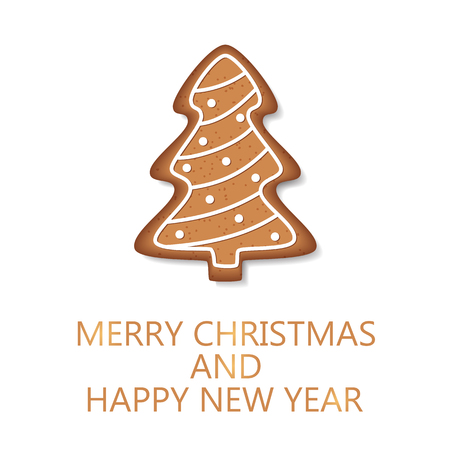 Merry Christmas and happy new year. Cookie isolated on white background. Christmas tree. Holiday decoration. Vector illustration Stock Illustratie