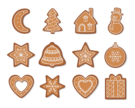 Christmas gingerbread cookies isolated on white background. Holiday decoration. Vector illustration.