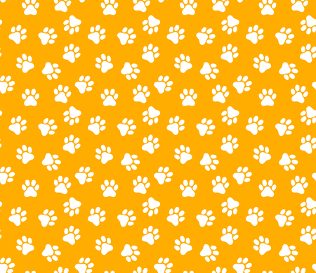 Seamless pattern with dog paw. Vector illustration.